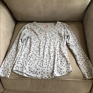 Gray and black heart lightweight sweatshirt.